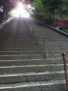 Stairway leading up to the light