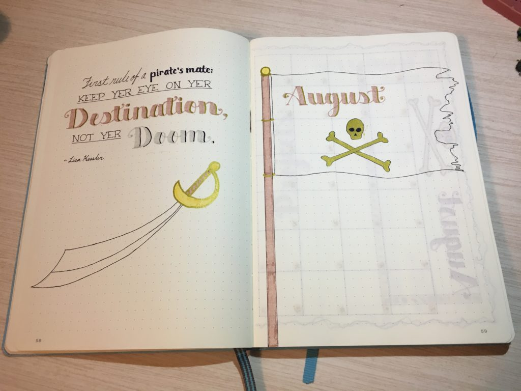 August Bullet Journal Cover Page Pirate Quote