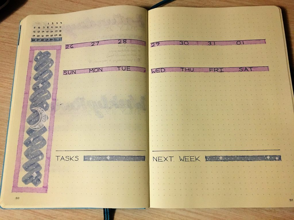 Bullet Journal Weekly Spread Moon and Stars