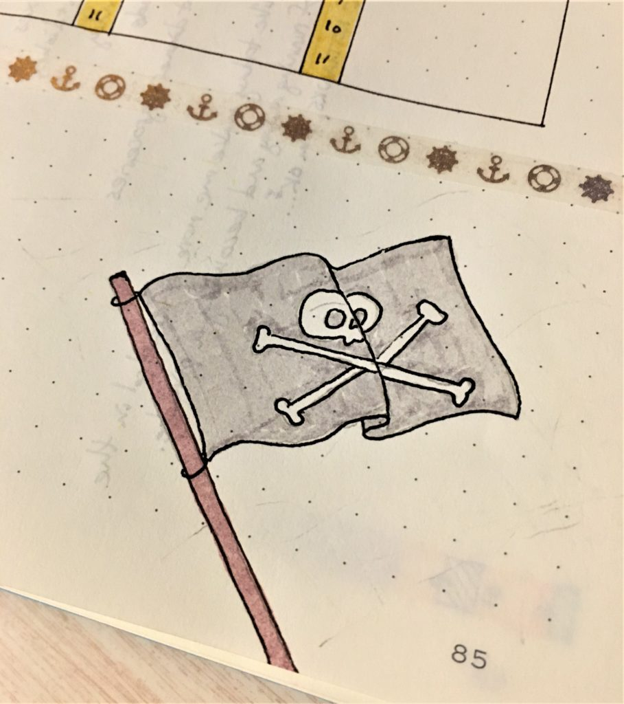 Bullet Journal Pirate Flag Drawing