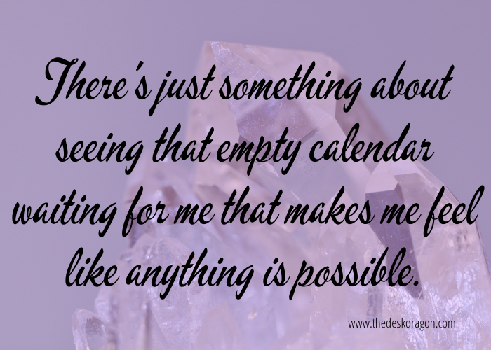Empty calendar for a new month