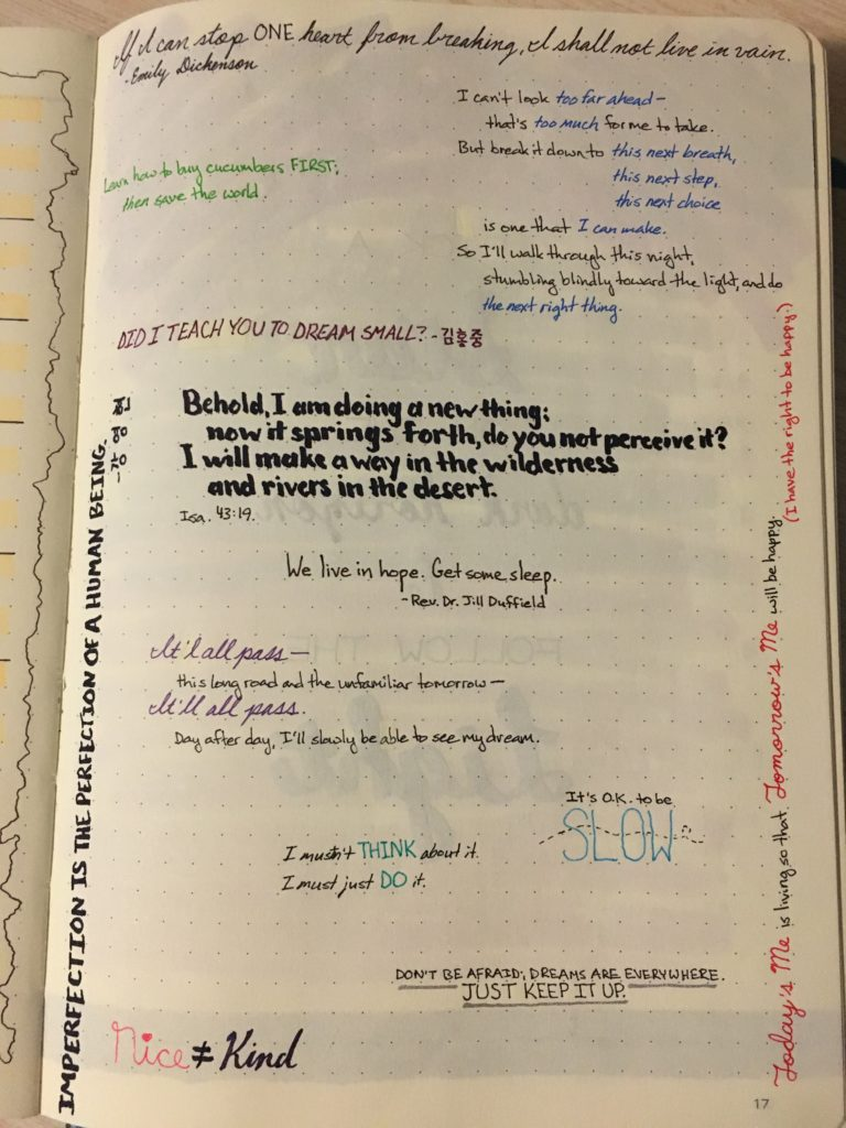 Bullet Journal Mantras Page Layout