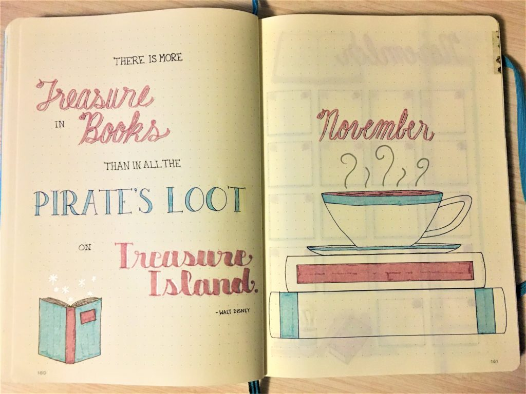 November Books & Coffee Bujo Cover