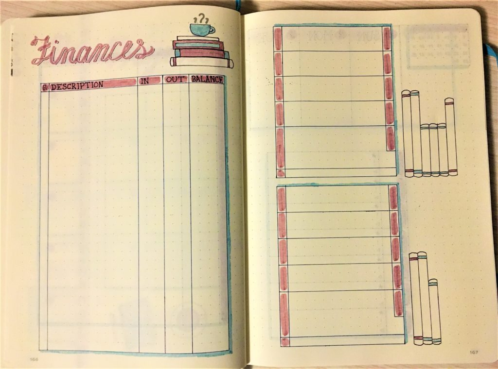 November Bullet Journal Finance Pages