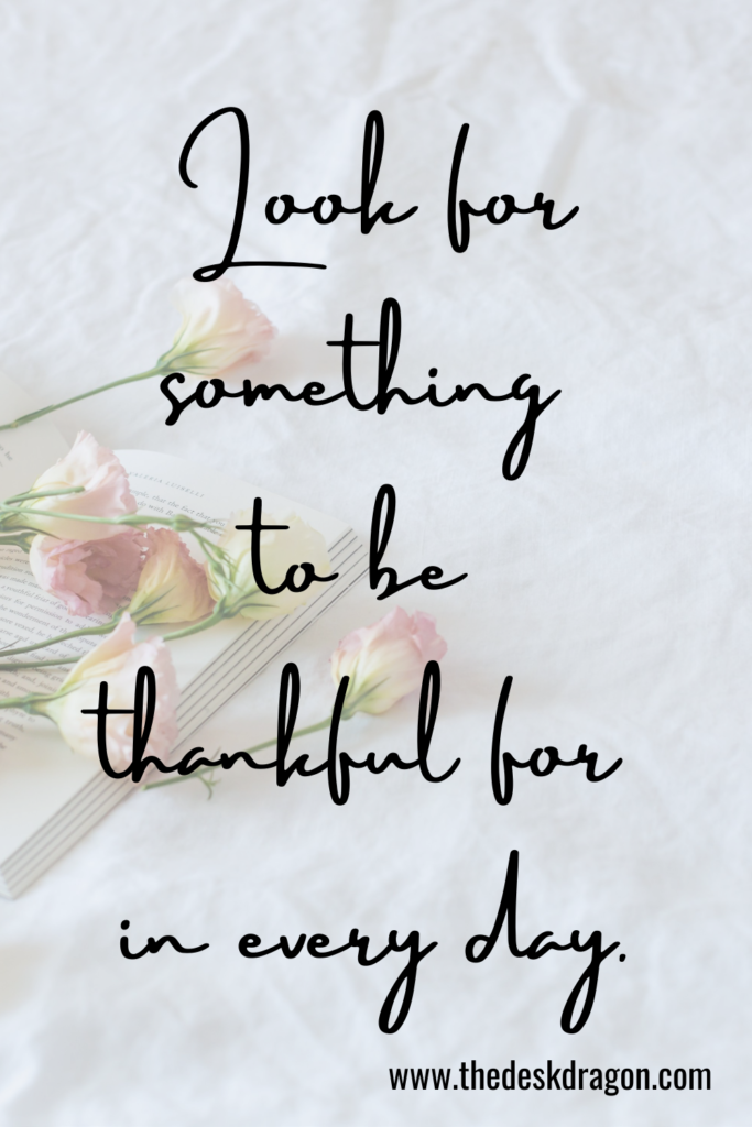 Look for something to be thankful for in every day.