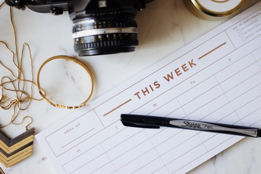 Planning a weekly schedule or routine