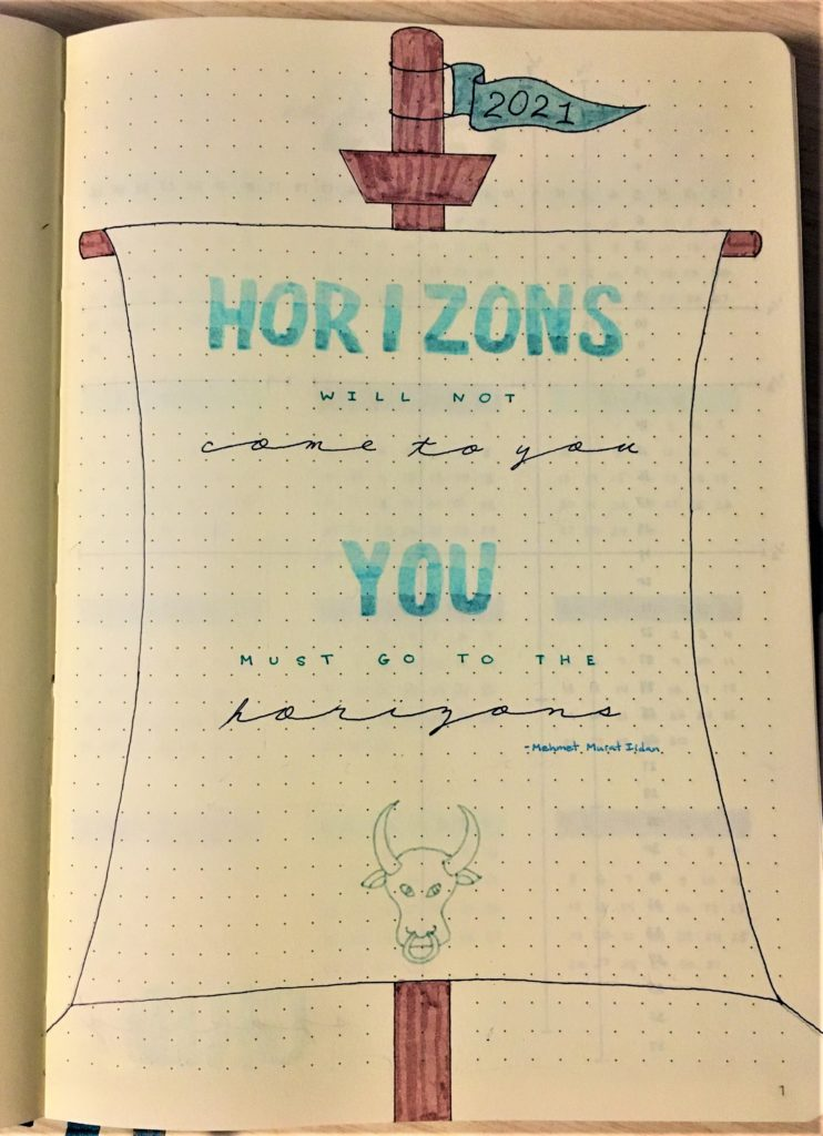 2021 Bujo cover title page: horizons