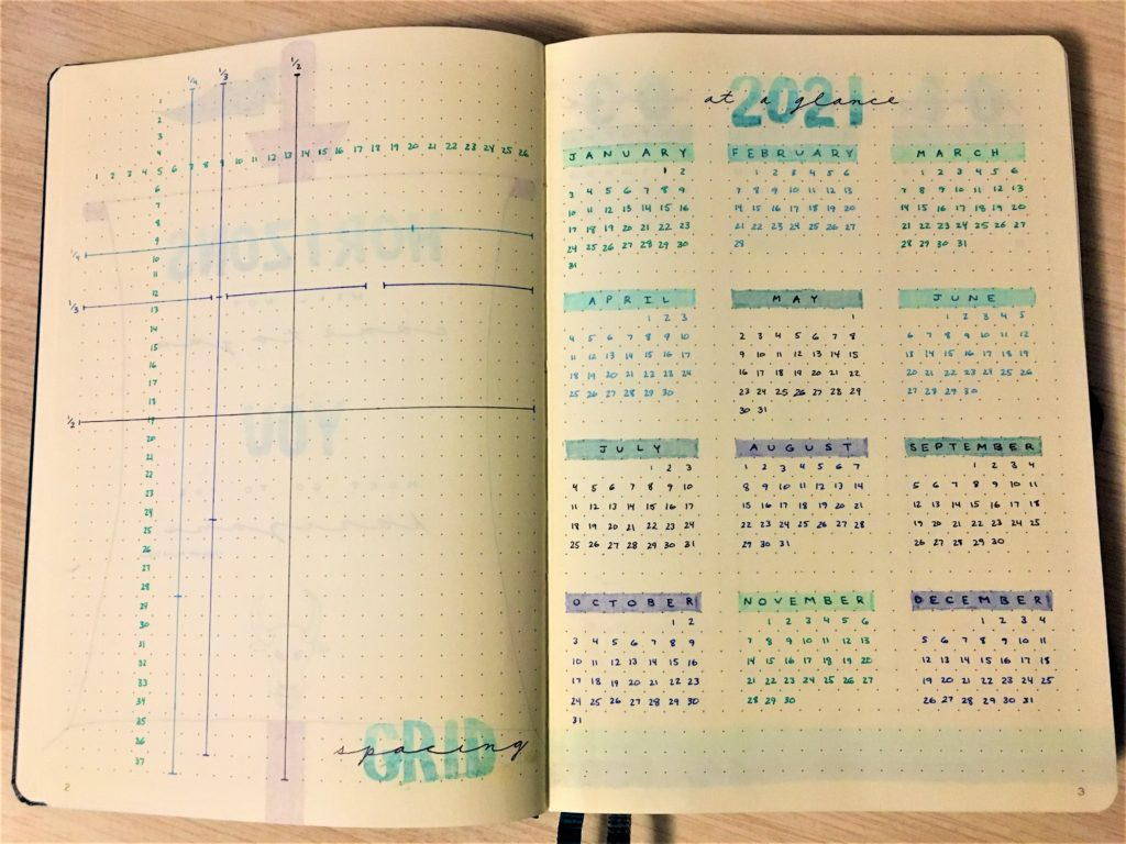 New Bullet Journal: grid spacing & 2021 at a glance