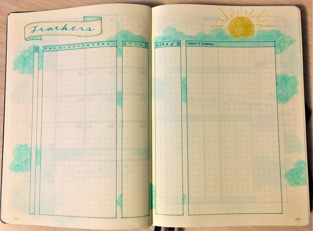 Bullet journal January trackers