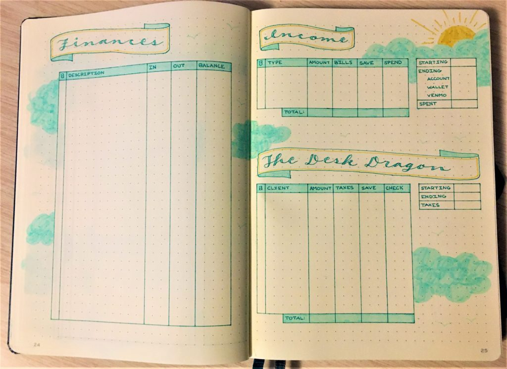Bullet journal January finance pages