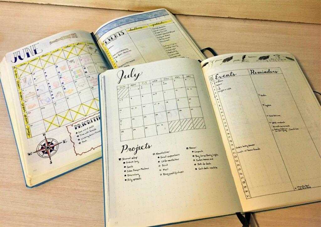 what I learned while bullet journaling: June vs July monthly