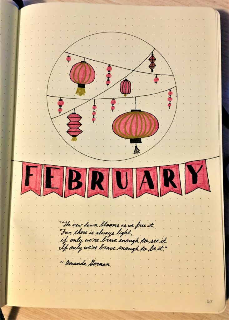 February Bujo Cover Page Lunar New Year