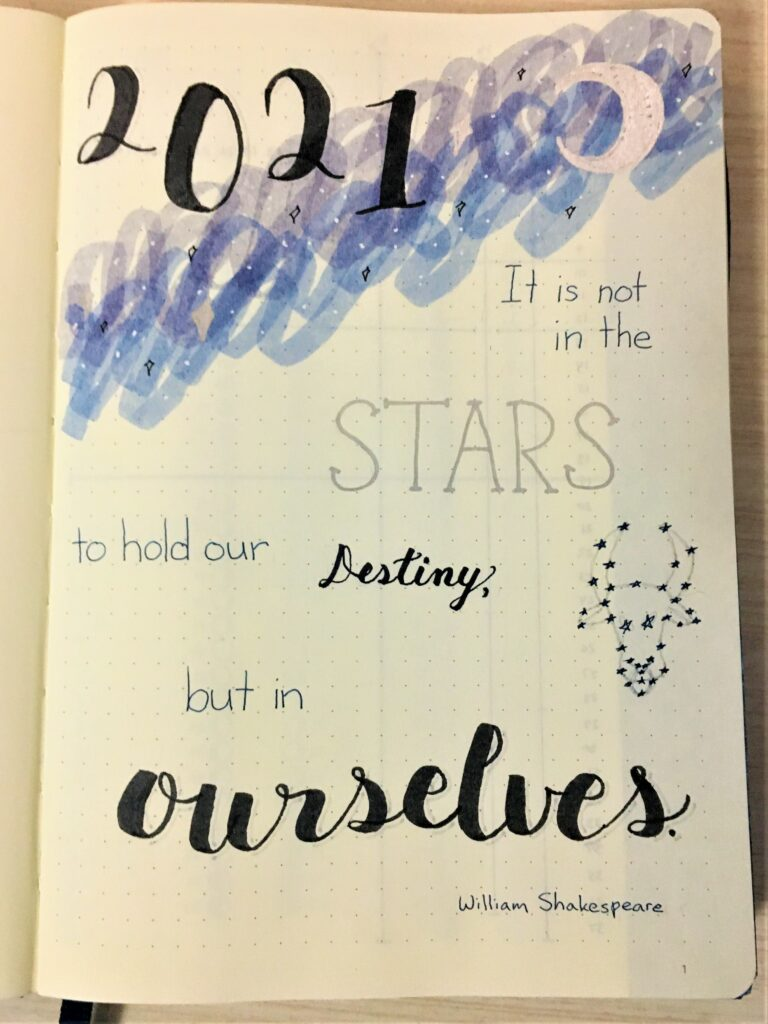 New bullet journal cover page 2021