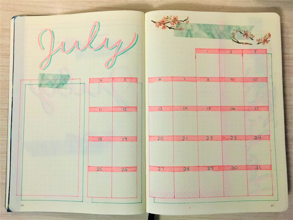 Monthly spread July 2021