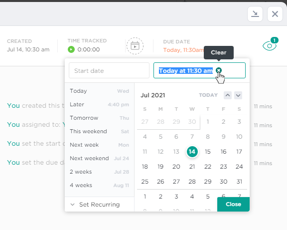 Change due date in ClickUp task